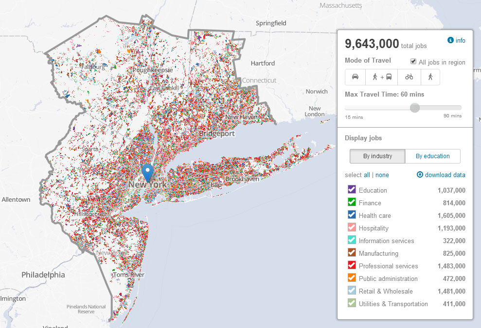 Regional Plan Job Access Map with Connecticut Data