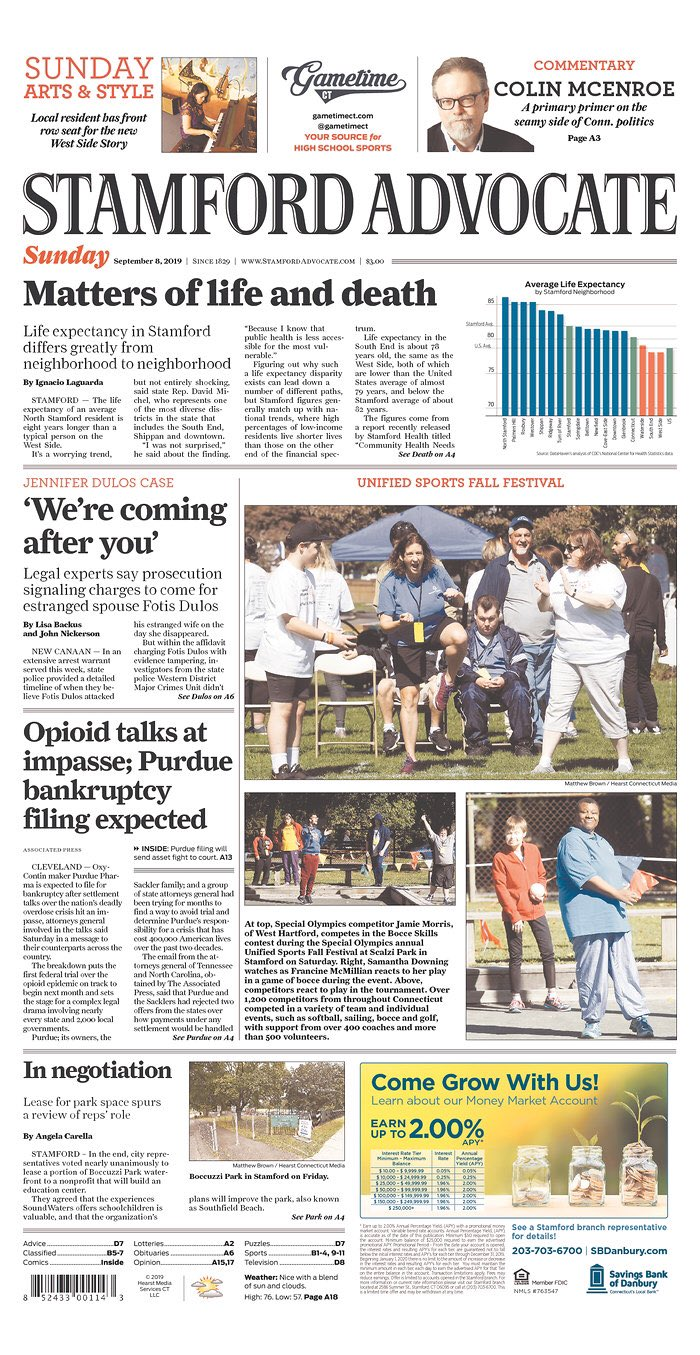 Life expectancy connecticut data Stamford by DataHaven Stamford Advocate Front Page