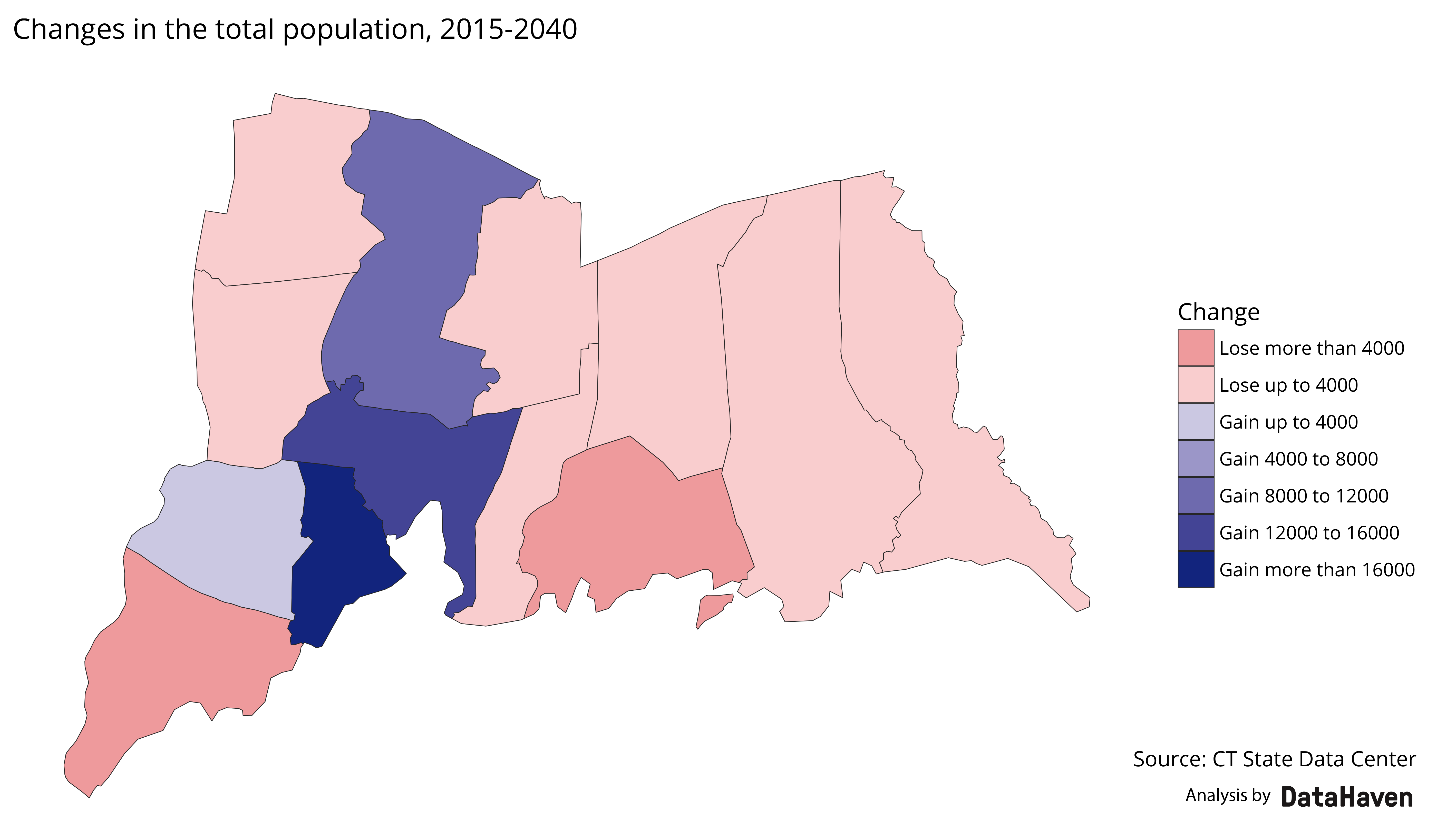 Greater New Haven total population change