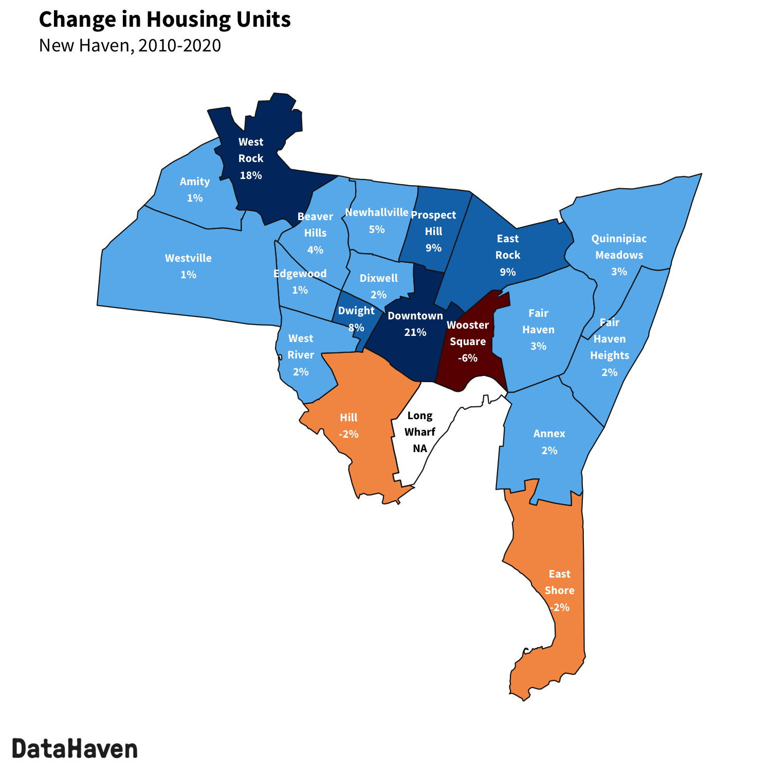 New Haven change in housing units from 2010 to 2020 Census